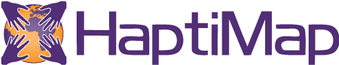 HaptiMap logo, Globe with four hands touching: